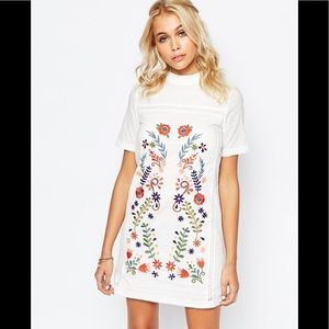 ASOS Fashion Union Shift Dress with Embroidery